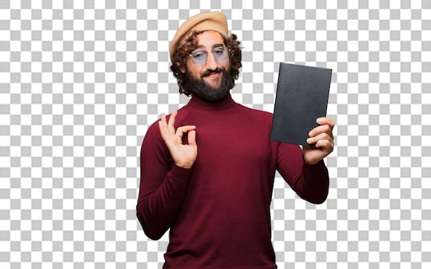 Artista francês com uma boina segurando um livro
