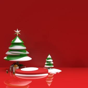 Árvore com neve e presentes fundo de cena de visualização de palco de anúncios de produtos realistas