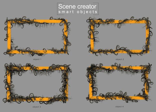 Árvore de galho assustador rastejando no criador de cena de quadro retangular vazio