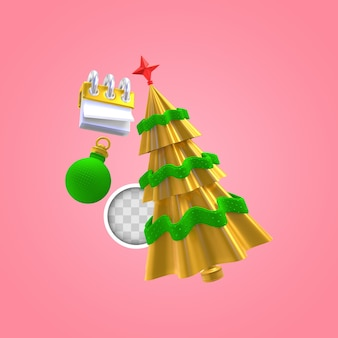 Árvore de natal com calendário. renderização 3d