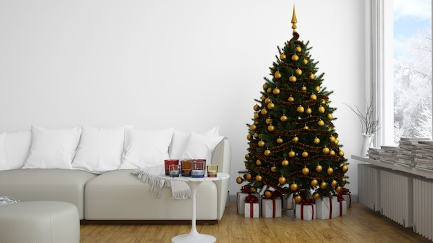 Árvore de natal com enfeites dourados árvore dentro de casa