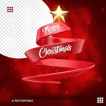 Árvore de natal com fita vermelha 3d com estrela isolada