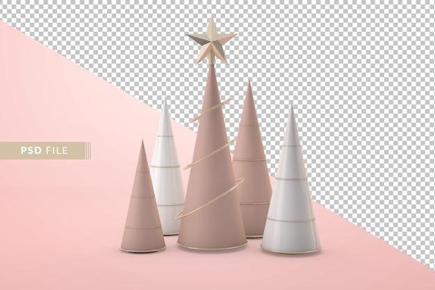 Árvore de natal com rosa dourada moderna renderização em 3d