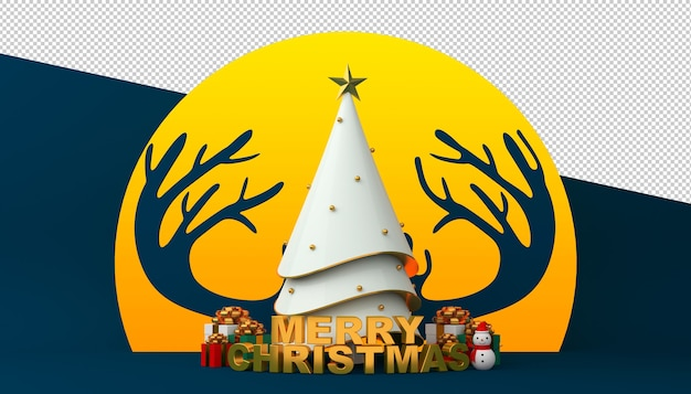 Árvore de natal com texto de feliz natal em renderização 3d na lua