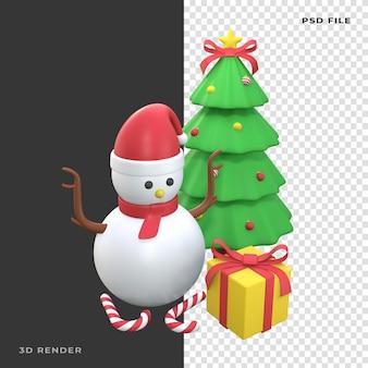 Árvore de natal do boneco de neve 3d com caixa de presente em fundo transparente