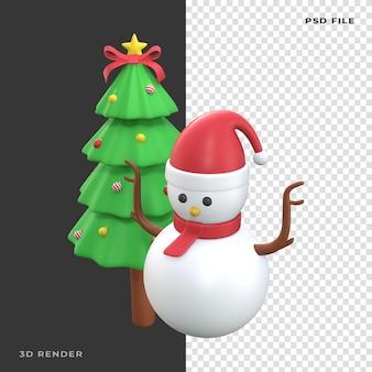 Árvore de natal do boneco de neve 3d em fundo transparente