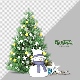 Árvore de natal e boneco de neve renderizados em 3d isolados