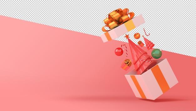 Árvore de natal e caixa de presente renderização em 3d