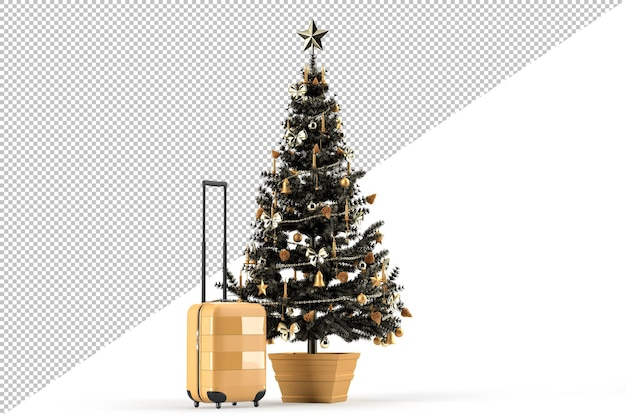 Árvore de natal e mala de viagem. conceito de viagem de viagem de natal