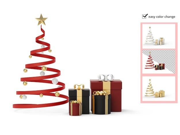 Árvore de natal e maquete de caixa de presente