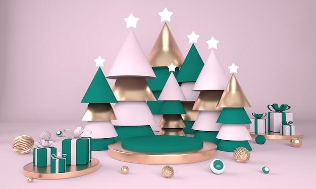 Árvore de natal e palco para exposição de produtos em renderização 3d
