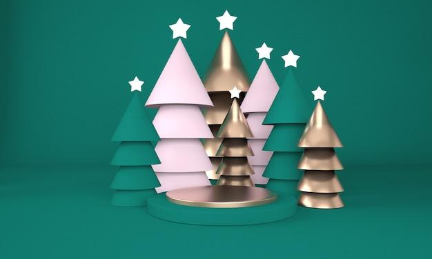 Árvore de natal e palco para exposição de produtos em renderização 3d Psd Premium