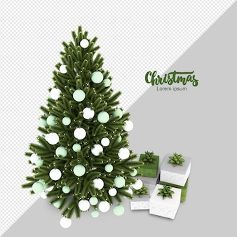 Árvore de natal e presentes 3d renderizados isolados