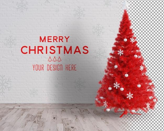 Árvore de natal grande e maquete de natal com acessórios brancos