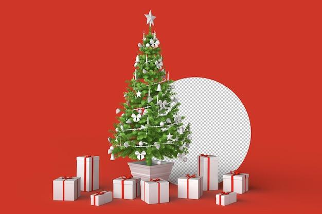 Árvore de natal minimalista com caixas de presente. renderização 3d