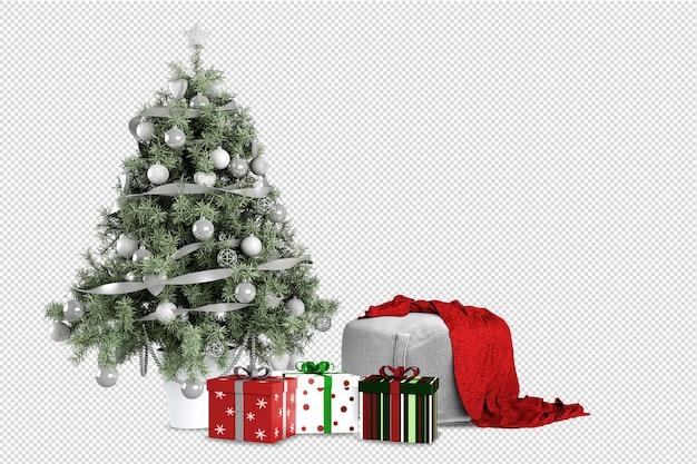 Árvore de natal, presentes e poltrona renderizados em 3d