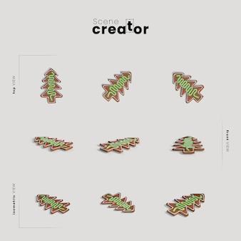 Árvore de natal variedade de gengibre ângulos cena natal criador