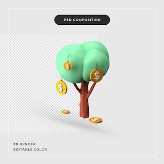 Árvore do dinheiro com cifrões isolado renderização em 3d