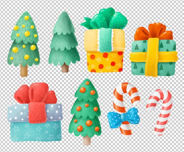 Árvores de natal e presentes clipart