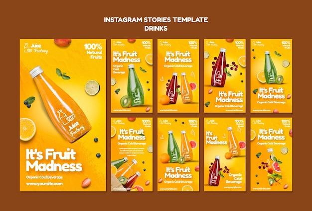 As bebidas oferecem modelo de histórias no instagram