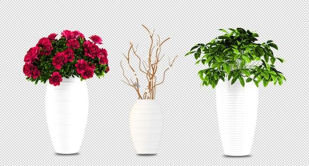 As plantas florescem em vasos renderizados em 3d