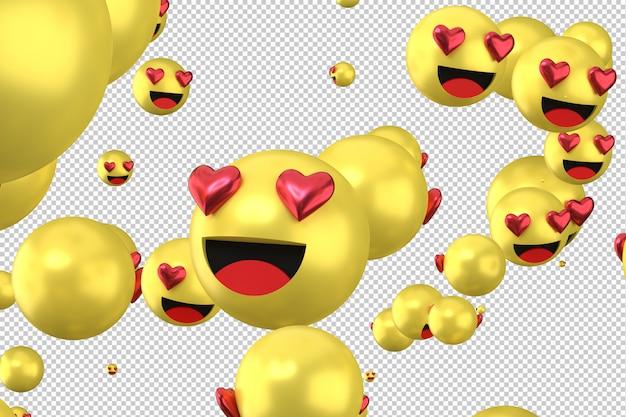 As reações do facebook amam emoji 3d render símbolo de balão de mídia social com coração
