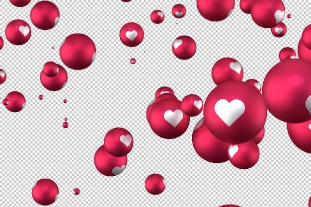 As reações do facebook coração emoji 3d render em fundo transparente, símbolo de balão de mídia social com coração