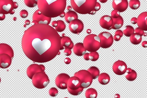 As reações do facebook coração emoji 3d render no símbolo de balão transparente, mídias sociais com coração