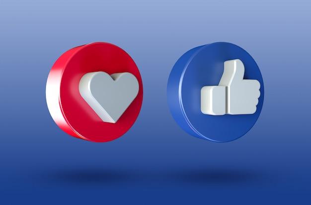 As redes sociais adoram e gostam do ícone de botão 3d minimalista