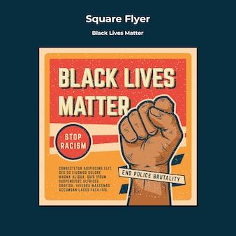As vidas pretas importam nenhum racismo panfleto quadrado