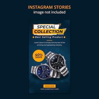 Assistir modelo de histórias de mídia social no instagram