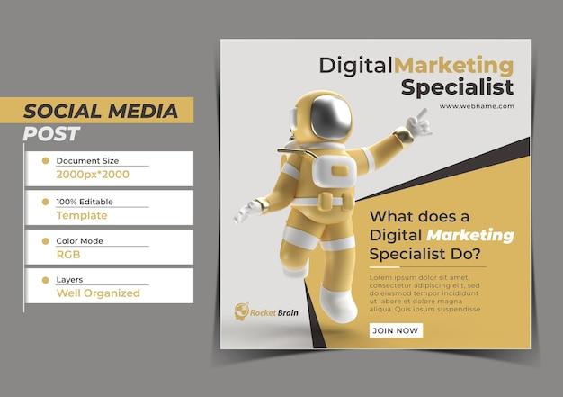 Astronaut jumping digital concept instagram post banner template