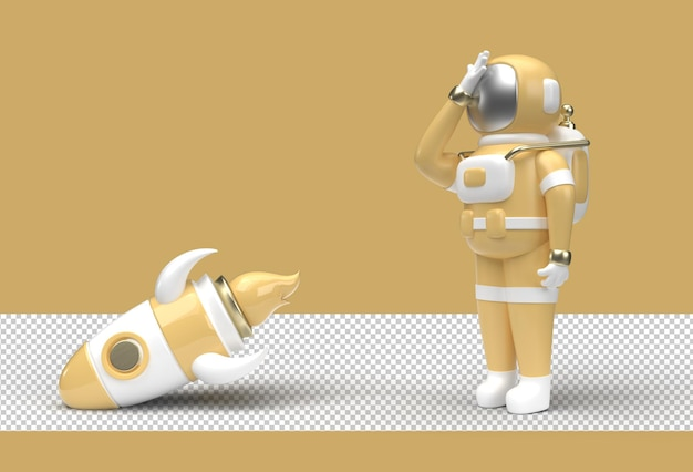 Astronaut rocket is falling down disappointment's transparent psd file