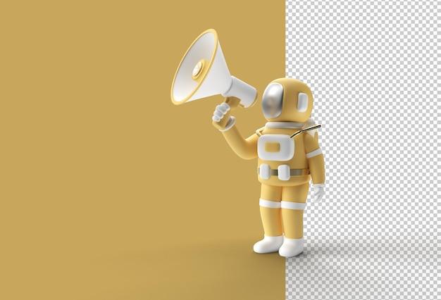 Astronauta 3d está ligando para um anúncio de venda