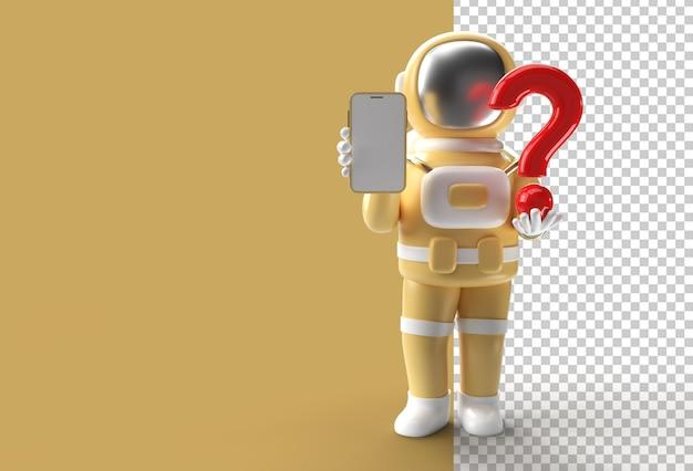 Astronauta 3d render segurando um ponto de interrogação com um modelo móvel em branco