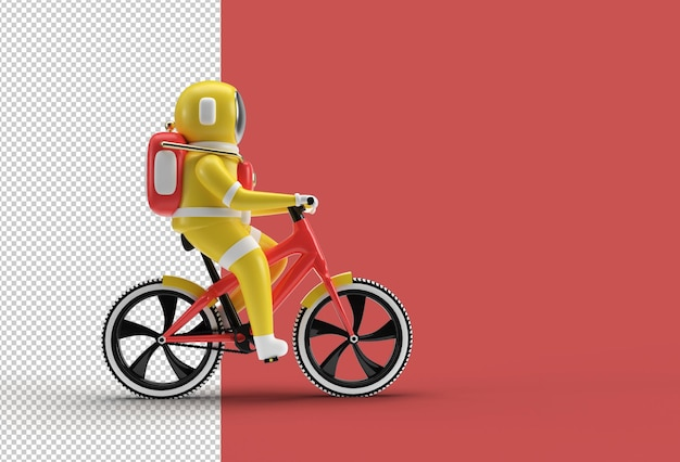 Astronauta com arquivo psd transparente para bicicleta.