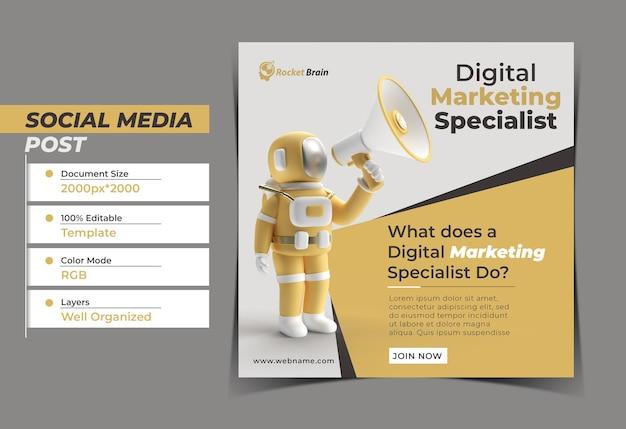 Astronauta com megafone digital concept instagram post banner t