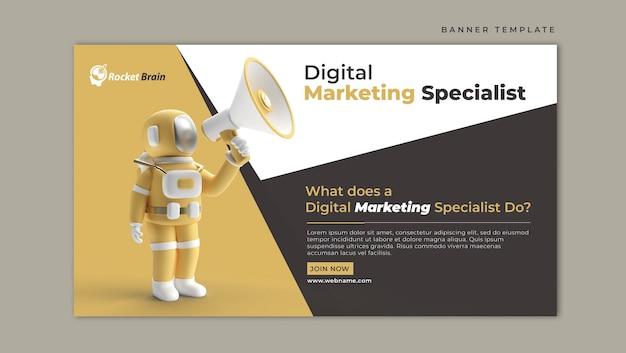 Astronauta com modelo de banner horizontal de marketing digital de megafone