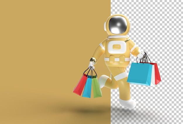 Astronauta de renderização 3d com sacolas de compras