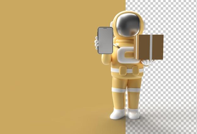 Astronauta de renderização 3d entregando um pacote com maquete móvel