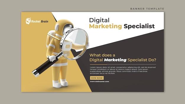 Astronauta segurando modelo de banner horizontal magnify glass marketing digital