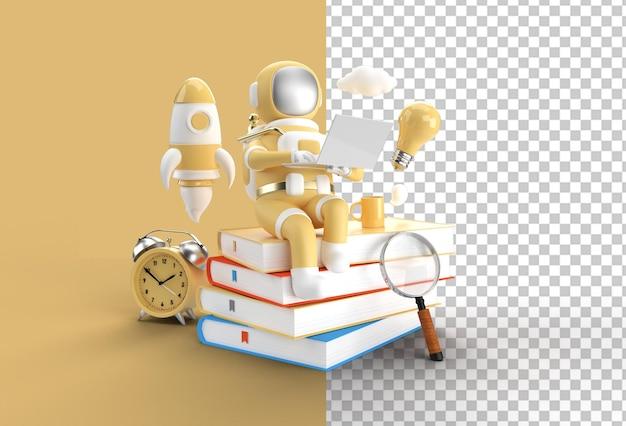 Astronauta sentado na pilha de livros trabalhando em um laptop