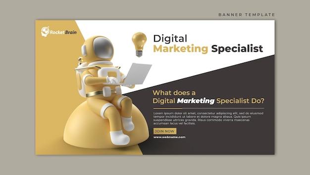 Astronauta trabalhando em um laptop modelo de banner horizontal de marketing digital
