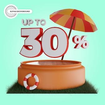 Até 30 por cento de desconto renderização 3d isolada Psd Premium