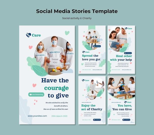 Atividades sociais e histórias de mídia social de caridade