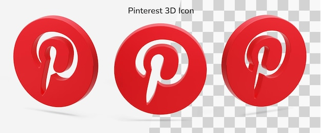 Ativo de ícone 3d flutuante do logotipo 3d do pinterest em isométrico