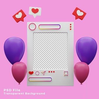Ativo de modelo de maquete 3d instagram com ilustração de ícones de balões de alta qualidade