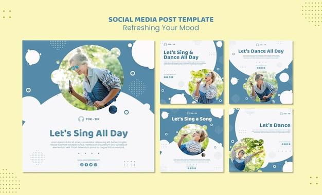 Atualize seu modelo de postagem de mídia social de humor