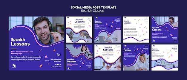 Aulas de espanhol postagens nas redes sociais