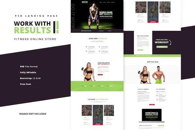Aulas de ginástica e fitness para página de destino de vida saudável